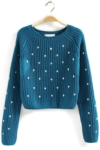 Heart Embroidered Cropped Sweater - OASAP.com | Sweet Lolita | Scoop.it