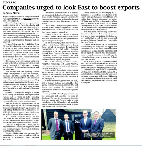 Companies urges to look East to boost exports - Business Weekly, 19/03/15 | UK Trade & Investment media coverage | Scoop.it