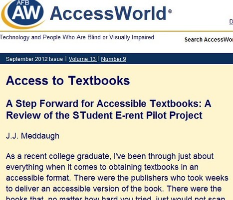 A Step Forward for Accessible Textbooks: A Review of the STudent E-rent Pilot Project - AccessWorld® - September 2012 | Inclusive teaching and learning | Scoop.it