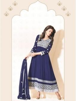 Shop And Buy Sushmita Sen Navy Blue Georgette Anarkali Suit 9642 - Sushmita Sen Collection Sushmita Sen Dress | Online Suit Salwar Kameez |  Suit Price| Suit Sale | Apparel | Women Suit | Scoop.it