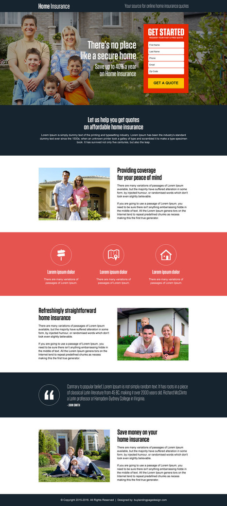 secure-online-home-insurance-quote-lp26 | Home Insurance landing page design preview. | converting and effective landing page designs | Scoop.it