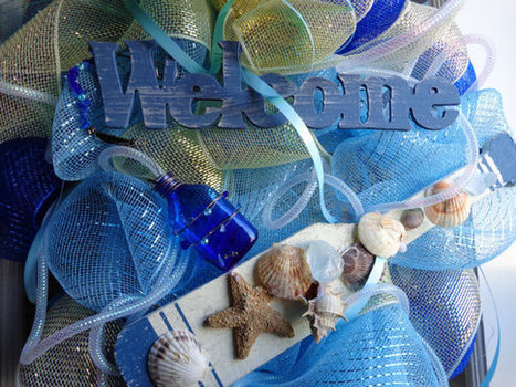 Beach Wreath Ocean Message in Bottle nautical decor | Candy Buffet Weddings, Events, Food Station Buffets and Tea Parties | Scoop.it