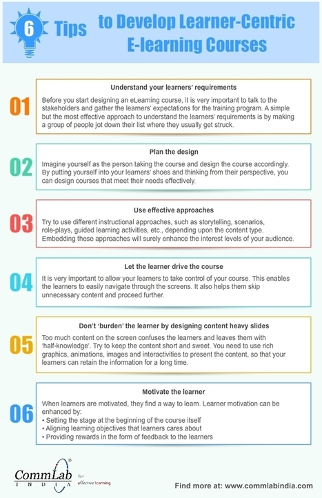 6 Tips to Develop Learner-Centric E-learning Courses – An Infographic | e-learning | Scoop.it