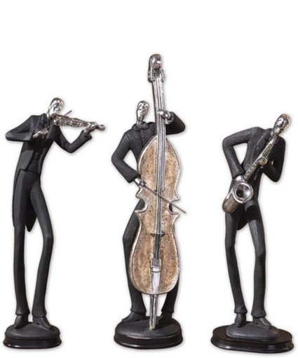 """18""""h Musicians Statues Slate Gray 