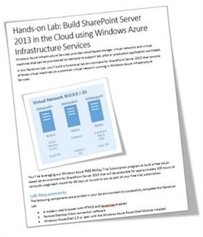 Step-by-Step: Build a FREE SharePoint 2013 Dev/Test Lab in the Cloud with Windows Azure Infrastructure Services - KeithMayer.com - Site Home - TechNet Blogs | sharepoint technique et usages : ECM, ERM et réseaux sociaux | Scoop.it