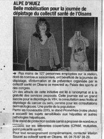 [Revue de presse] Alpe d'Huez : belle mobilisation pour la journée de dépistage collectif santé de l'Oisans (05/02/2015)   L'alpe d'huez   Scoop.it