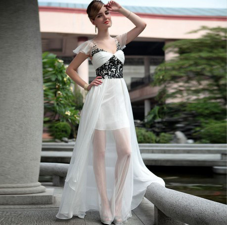 Chiffon Bare Back See Through Prom Dress [D079] - $166.20 : | The Latest Fashion Dresses | Scoop.it