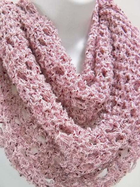 Rose Pink Infinity Style Knit Cowl with Matching Scarf Pin  from Stitchknit | fashion show | Scoop.it