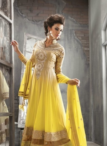 Shop online today, Long Georgette Anarkali In Yellow with Lace, Resham, 7140229 | Anarkali Suit | Scoop.it