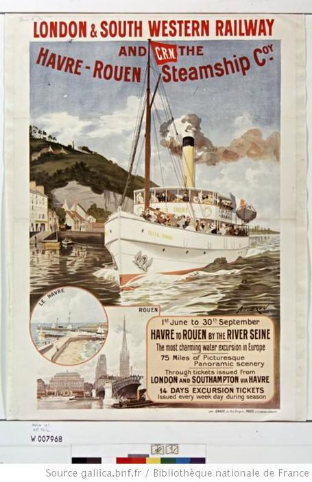 "[Bateau ""Le Félix Faure""]. London & South western railway and CRN, The Havre-Rouen steamship C[ompan]y : [affiche]