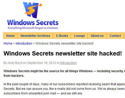 Windows Secrets Newsletter website hacked | Security And Technology From the Web | Scoop.it