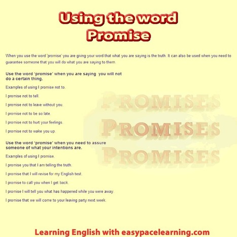 Promise learning how to make and promises English lesson | Resources_4_EFL | Scoop.it