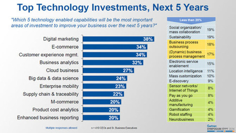 Gartner's CEO Survey Predicts Top Technology Investments For Next Five Years   | Insights | Scoop.it