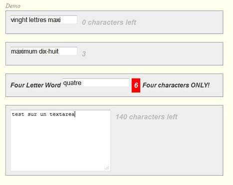 Show Character Limit jQuery Plugin | Formulaires HTML5, CSS3 & jQuery | Scoop.it