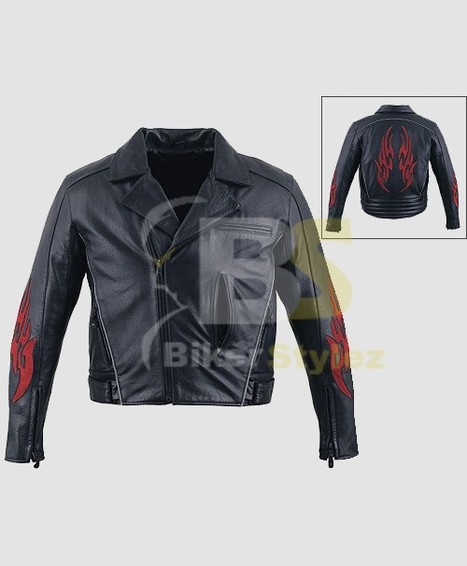 Mens Flames Leather Motorcycle Outfit Richly Adorned. | Mens Biker Jackets | Scoop.it