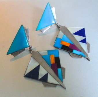 1960's Huge Zuni Inlaid Sterling Earrings | Vintage Passion | Scoop.it