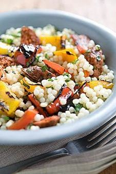 Pearl Couscous Salad with Merguez and Grilled Bell Peppers   BloodandButter   Scoop.it