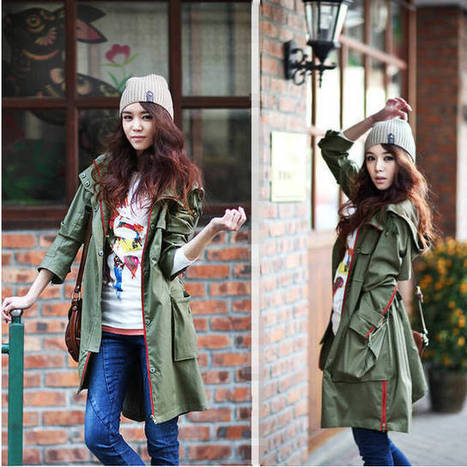 Cheap Army green hooded waist thin frock Korean Slim street style trench coat in women outcoat from women clothing on sightface.com | Cheap women Clothing Online at Sightface | Scoop.it