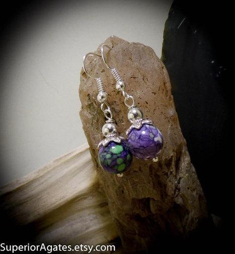 Purple Green White Floral Silver Dangle Earrings | Wire Wrapped Stone | Scoop.it