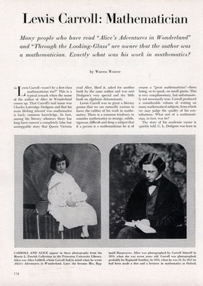Lewis Carroll: Mathematician - Scientific American (Apr, 1956) | oh!math | Scoop.it