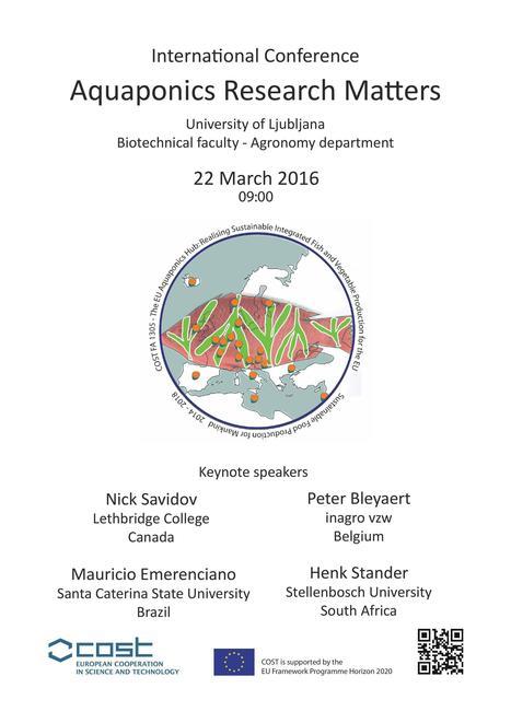 COST FA1305 Conference Aquaponics Research Matters, Ljubljana - Ponnod | 3A : Actualités Aquacoles & Aquaponiques | Scoop.it