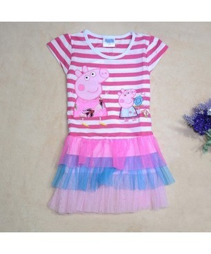 Short Sleeve Striped Pepper Pig Cake Dress Fashion & Cute | Clothing at SMA-STAR | Scoop.it
