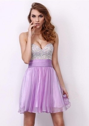 A Line Sweetheart Short Purple Chiffon Homecoming Dress Adoaa0045 - Homecoming Dresses - Special Occasion Dresses | mode | Scoop.it