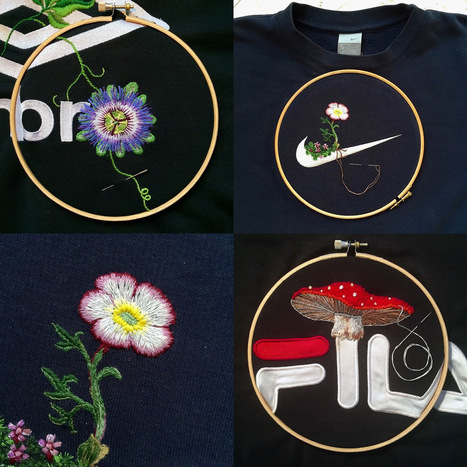 Artist James Merry Embellishes Sportswear Logos with Embroidered Plants | Fiber Arts | Scoop.it
