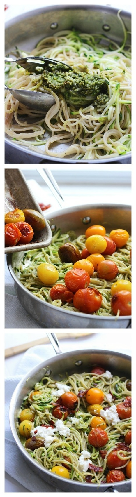#HealthyRecipe : Whole-Wheat and Zucchini Spaghetti with Basil Almond Pesto, Blistered Tomatoes and Ricotta | The Man With The Golden Tongs Goes All Out On Health | Scoop.it