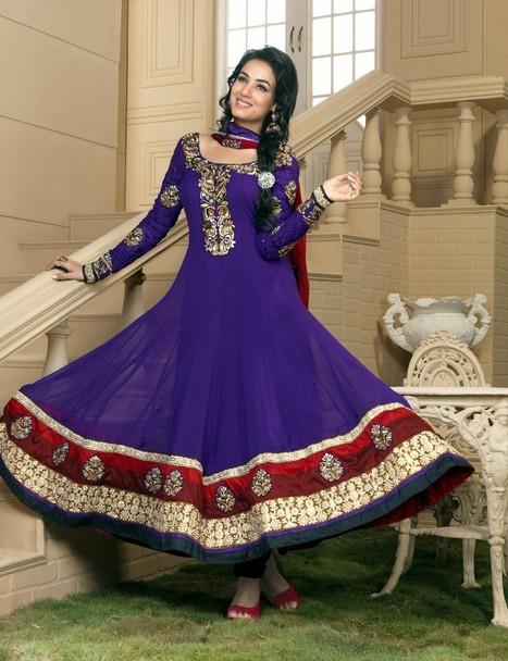 Gravity Fashion - Majesty Bluish Purple Salwar Kameez   Bollywood Anarkali Dresses   Scoop.it