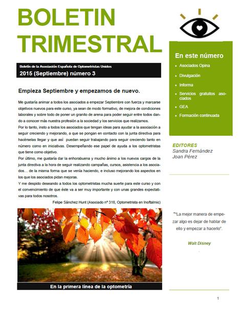 AEOPTOMETRISTAS-Boletin Trimestral Septiembre 2015 | Salud Visual (Profesional) 2.0 | Scoop.it