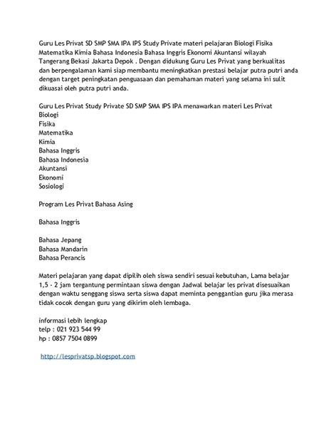 les privat sp - PdfSR.com | Les Privat SP Les Privat SD SMP SMA Les Privat Jakarta Depok Tangerang Bekasi | Scoop.it