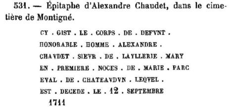 La saga CHAUDET (2) - Une épitaphe mystérieuse | GenealoNet | Scoop.it