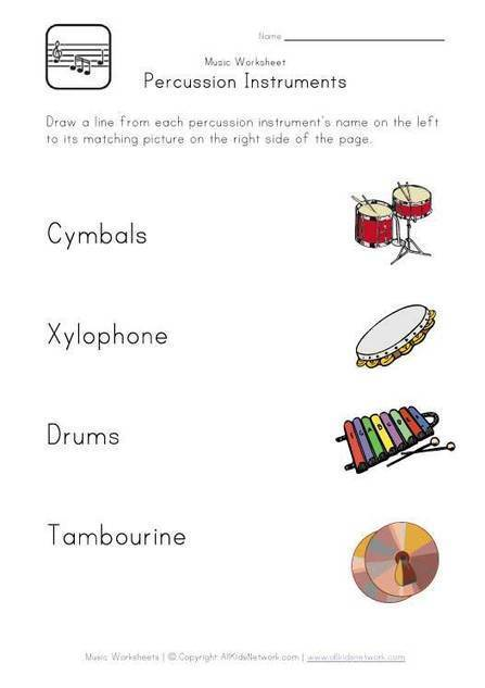 Percussion Instruments Worksheet   Music Early Stage 1 and Stage 1   Scoop.it
