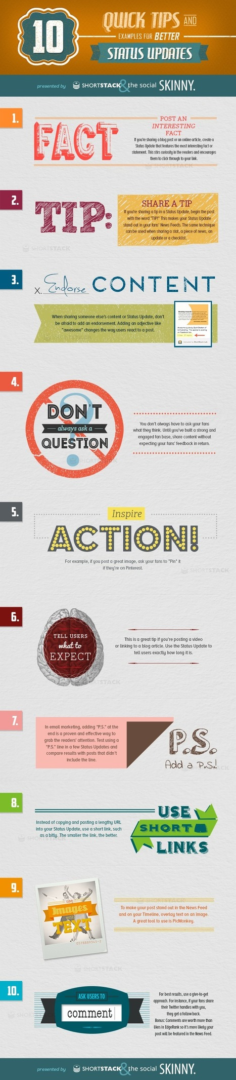 10 Quick Tips And Examples For Better Status Updates - Infographic on Social Media | community development | Scoop.it