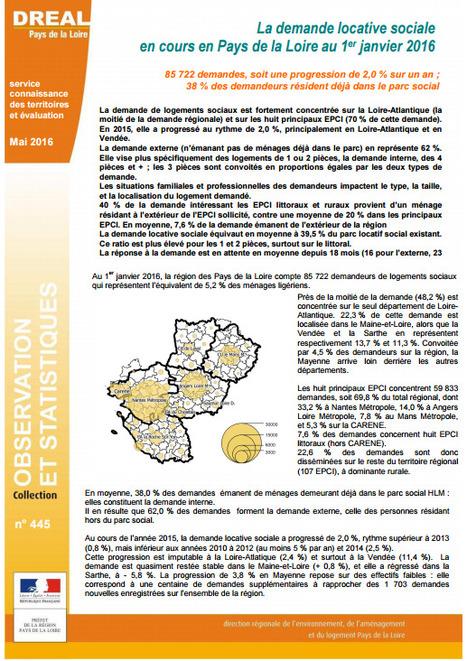 DREAL > En 2015, la demande de logements sociaux a progressé de 2 % dans la région   Observer les Pays de la Loire   Scoop.it