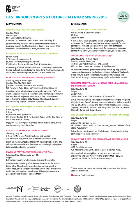 @Bkartscouncil East Brooklyn Arts Culture Calendar Spring 2015 is out | Brooklyn By Design | Scoop.it