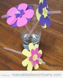Flores de goma eva para poner en la pajita de la bebida   Manualidades con Foamy   Educacion Prescolar   Scoop.it
