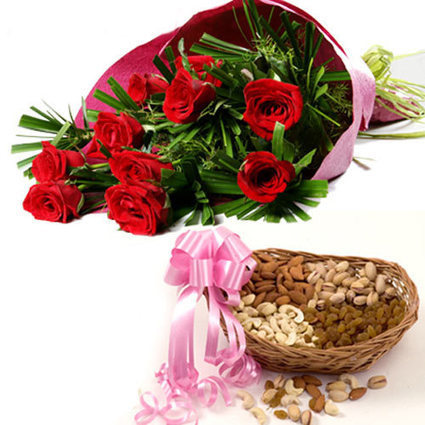 Dry-fruits and red roses - Blossom Square | BlossomSquare online flowers delivery system | Scoop.it