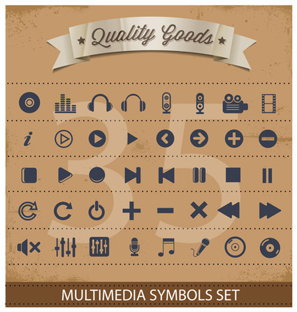 Pictogram multimedia symbols set - Download icons free | Free vector icons | Scoop.it
