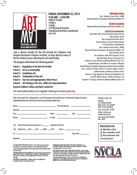 Copyright Litigation Blog: Nov 22 The Art Law Event of the Year: NYCLA Art Litigation & Dispute Resolution Institute - Sign Up Now   Right to Share Events   Scoop.it