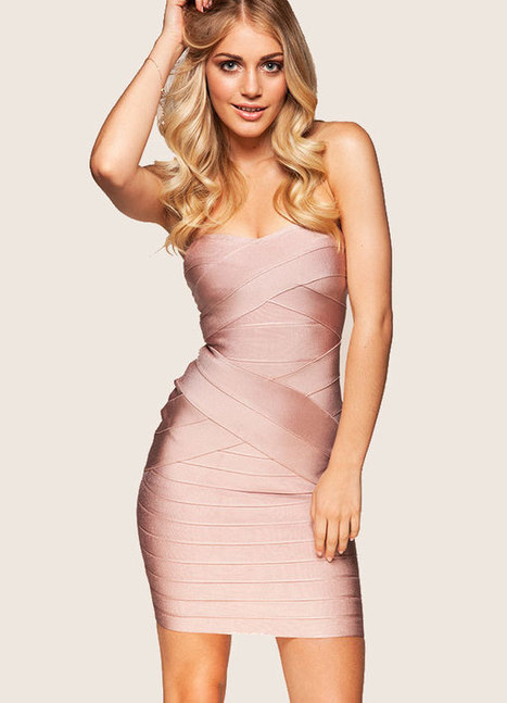 Herve Leger Nude Strapless Signature Bandage Dress | Sexy | Scoop.it