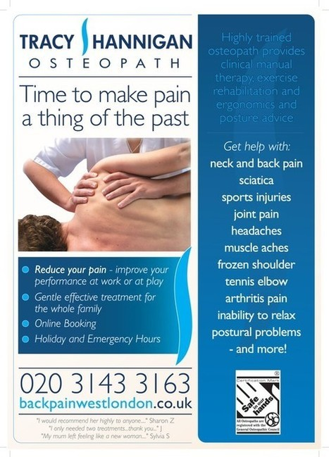 New Osteopathic Clinic Poster - Backpainwestlondon.co.uk | London Osteopath Health Topics | Scoop.it