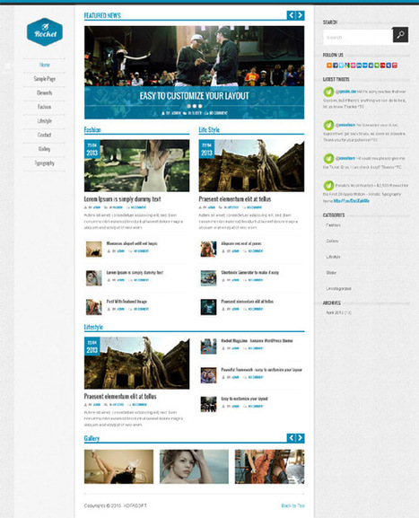 Rocket News, WordPress Responsive Magazine Theme | WP Download | Study with Ebook | Scoop.it