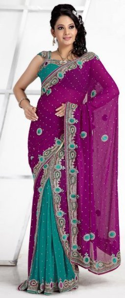 Magenta And Green Color Faux Georgette Designer Lehenga Saree | Bridal Sarees , Lahenga Sarees Collection | Scoop.it