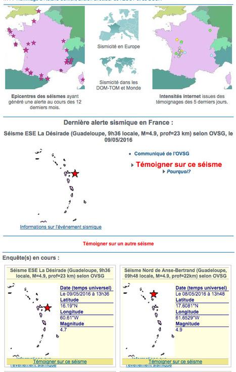 Un site : FranceSÉISME | Machines Pensantes | Scoop.it