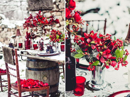 Winter Wedding Ideas Red Purple Inspiration