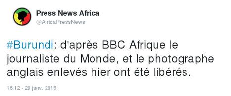 Burundi: d'après BBC Afrique le journaliste du Monde, et le photographe anglais enlevés hier ont été libérés. | Actualités Afrique | Scoop.it