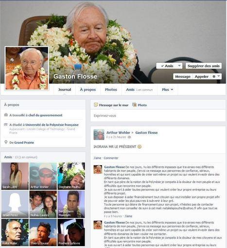 De faux profils Facebook au nom de Gaston Flosse et ses ministres - TAHITI INFOS | Web Social | Scoop.it