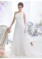 Sheath Column One Shoulder Floor Length Chiffon Ivory Wedding Dress Lbldb12114 for $357 | warmhat | Scoop.it